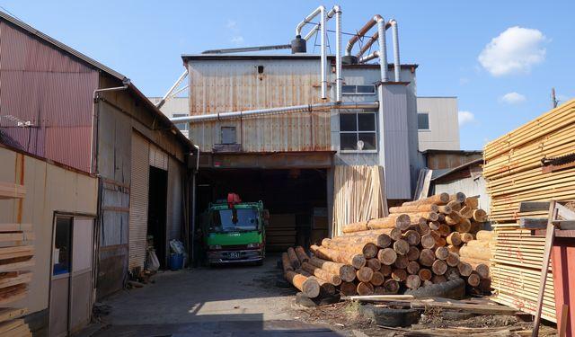 丸太製材 赤松 天板製造 京北商会